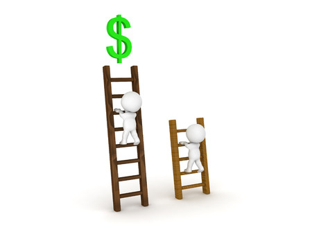 Two 3D Characters climbing on different types of ladders with a dollar symbol at the top. The symbol is green.