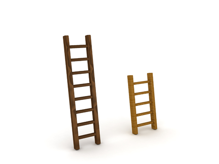3D illustratie van een lange en korte ladder. Afbeelding kan in vergelijkingsscenario worden gebruikt. Stockfoto