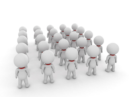 3D illustration of many small people seen from the back. Image depicting a group of people. Stock Photo