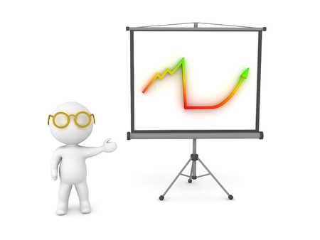 long recovery: 3D Character showing financial chart on projector screen. Image depicting presentation. Stock Photo