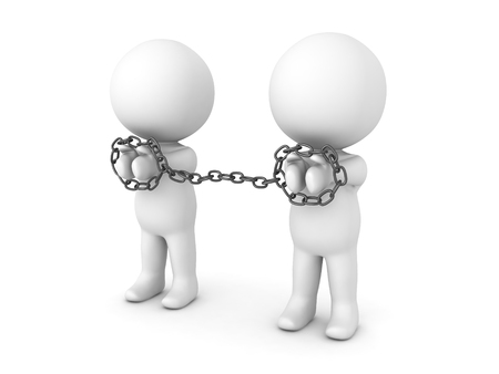 3D Characters being tied to each other with chains. Image depicting convicts, prisoner or detainees or slaves. Stock Photo