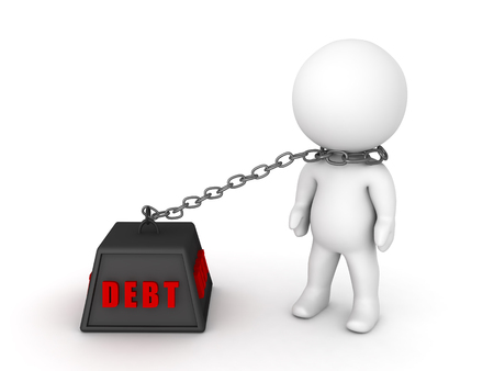 3D Character chained to debt. Image depicting financial burden. Stock Photo