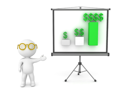 come back: 3D Character showing financial chart on projector screen.  Image depicting presentation.