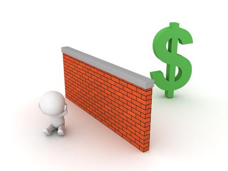 3D-afbeelding van armoede en gebrek aan financiële educatie, de kans wordt vertegenwoordigd door de dollar.