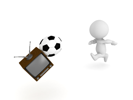 3D Character hitting tv with football soccer ball. Image depicting child causing a mess in the house. Stock Photo