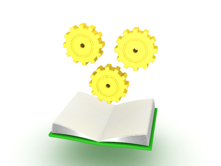 3D illustration of open book with cogs turning above it. Image depicting learning process. Banco de Imagens - 79072762