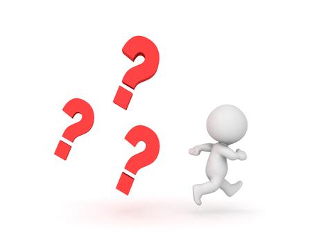 3D karakter wordt achtervolgd door meerdere vraagtekens. Beeld dat de stress van het beantwoorden van een vraag of niet weten en antwoorden weergeeft. Stockfoto