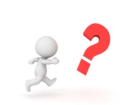 3D Character chasing after question mark . Image depicting the concept of trying to solve an question. Stock Photo