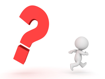 3D Character being chased by question mark.  Image conveying the stress of answering a question or not knowing and answer. Stock Photo
