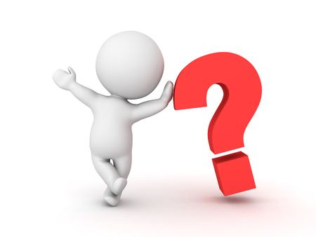 3D Character leaning on question mark symbol and waving. Image conveying the idea of a mystery or an invenstigation or an query.