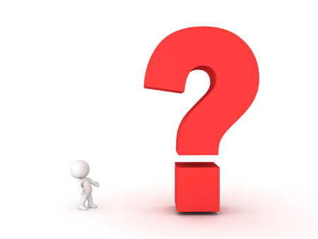 crime solving: 3D Character looking up at big question mark symbol.  Image conveying the idea of a mystery or an invenstigation or an query.