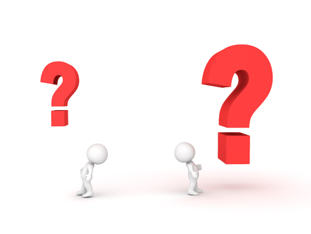 crime solving: Two 3D Characters looking at questions marks of different sizes. Image depicting different type of questions.