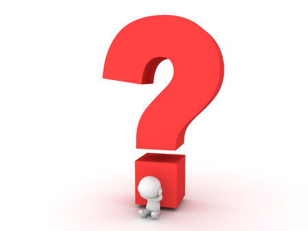 crime solving: 3D Character stressed out sitting next to big question mark. Image conveying the stress of answering a question or not knowing and answer.