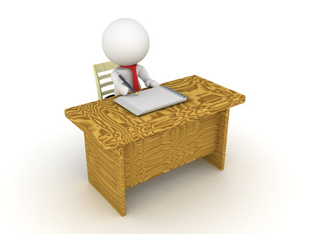 bureaucrat: 3D Character sitting at an office desk  and writing on a paper with a fountain pen.
