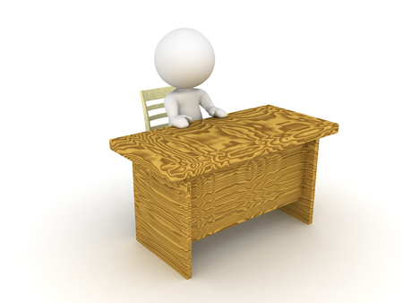 bureaucrat: 3D Character sitting at an office desk. Image depicting the activity of sitting at a desk.