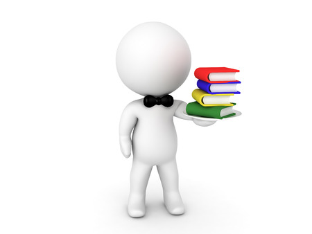 digesting: 3D Character waiter offering books on a plate. Image conveying the idea of digesting books. Stock Photo