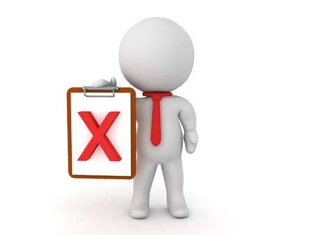 bureaucrat: 3D Character holding a clipboard with a red x mark. An image depicting failure.
