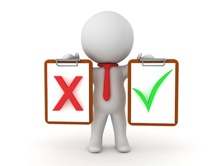bureaucrat: 3D Character holding a clipboard with a red x mark and one with green check mark.