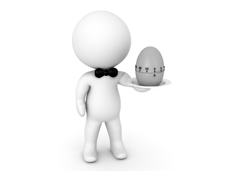 3D Character holding a pomodor egg timer on a plate. Funny image relating to time management. Stock Photo