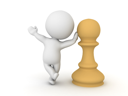pensamiento estrategico: Character leaning on chess pawn piece. This could relate to a chess board game competition.