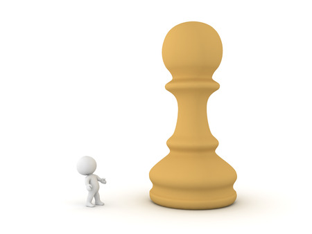 co operation: 3D Character looking up at giant chess pawn piece. This could relate to a chess board game competition. Stock Photo