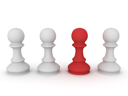3D illustration of chess pawn pieces with one highlighted in red. Image could convey being unique. Stock Photo