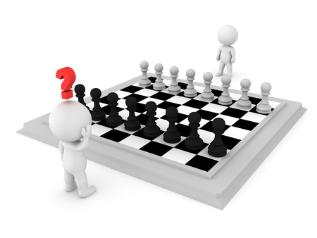 co operation: 3D Character trying to make a move against his opponent at a gane of chess