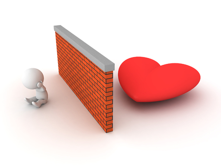 3D Character cant find love. Image conveying the idea of being unable to get a relationship.