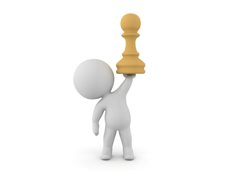 pensamiento estrategico: 3D Character holding up a chess pawn piece. This could relate to a chess board game competition.