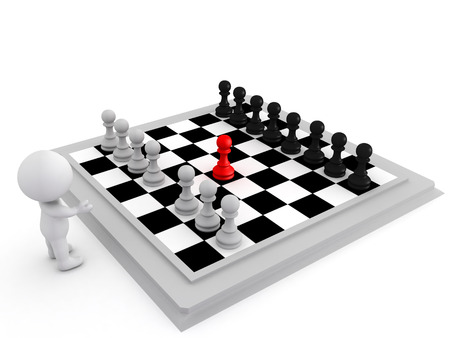 co operation: 3D Illustration of highlighting a move in chess made by a pawn. Image depicting making a move.