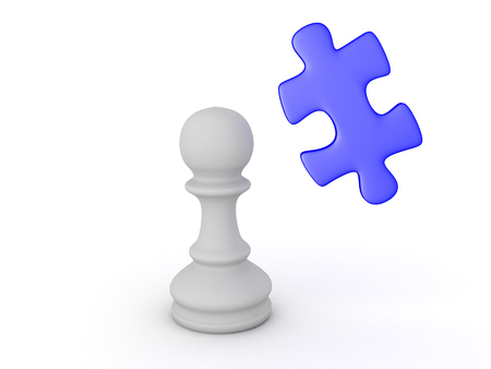 3D illustration of puzzle piece and chess pawn piece. Image can convey strategy, thinking and concentration. Stock Photo