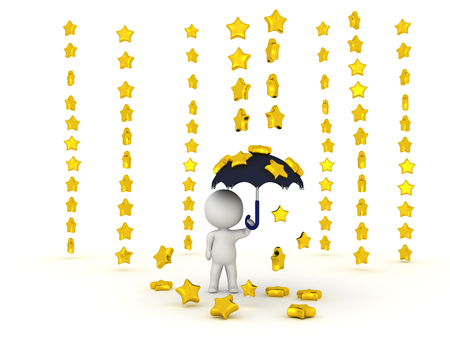 3D Character holding umbrella while stars are raining down. A cute image with shiny stars.