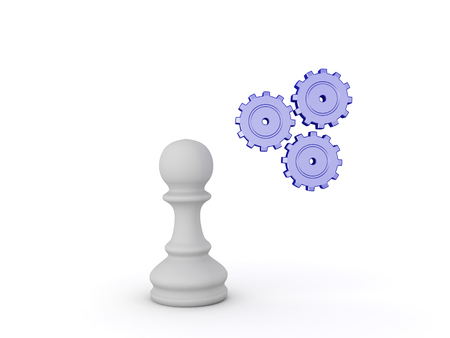3D Illustration of chess pawn piece and spinning cogs.  Image can convey strategy, thinking and concentration.
