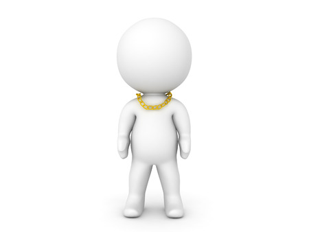 3D Character wearing an even smaller gold chain. Its tighter around the neck.