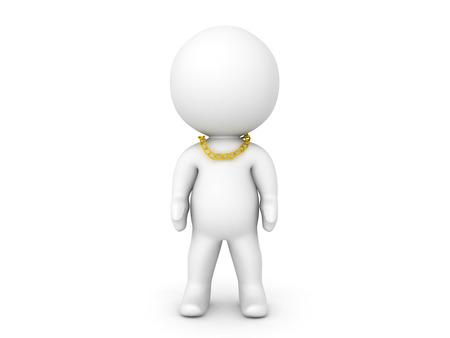 3D-teken met een nog kleinere gouden ketting. Het is strakker om de nek.