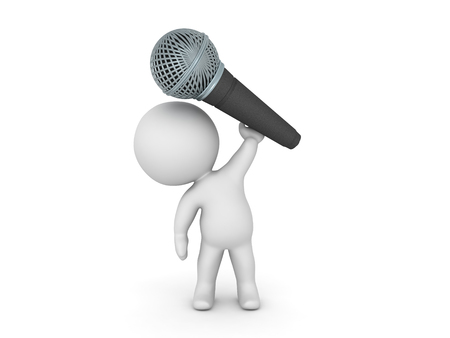 3D Character Holding above his head giant microphone. Image relating to singing or public speaking in general.