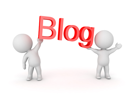 relating: 3D Characters holding up red letters which say Blog. Image relating to the online blogging community.
