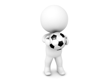 3D Character holding a soccer football in his hands. Image relating to sports.