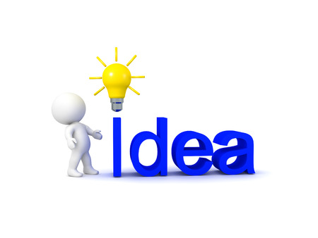 relating: 3D Character looking at Idea text with bright light bulb. Image relating to innovation.