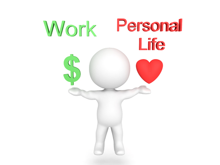 3D Character balancing work and personal life with text above. The modern day dilemma of balancing love life and work life. Stock Photo - 80163625