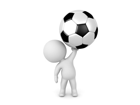 3D Character holding up a giant soccer football.  Image relating to sports. Stock Photo