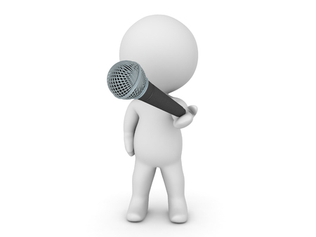 relating: 3D Character offering a microphone. Image relating to singing or public speaking in general.
