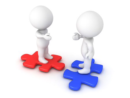 Two 3D Characters sitting on different colored puzzle pieces and extending hands. Image conveying compatible and diversity. Stock Photo