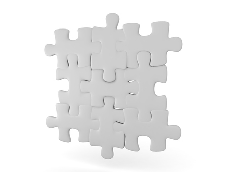 3D illustration of grey interlocking puzzle pieces. . Isolated on white background.