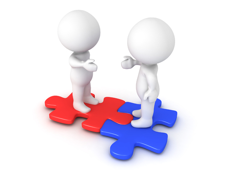 compatibility: Two 3D Characters extending hands and sitting on interlocking red and blue puzzle pieces.  Image conveying compatibility and diversity.