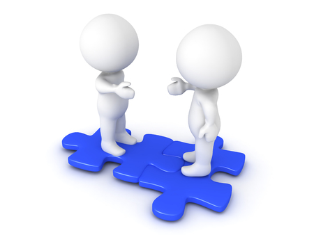 Two 3D Characters extending hands and sitting on interlocking blue puzzle pieces. Image conveying compatibility and diversity.  Stock Photo