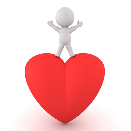 3D Character standing on top of giant red cartoon heart. Isolated on white.