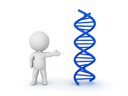 relating: 3D Character pointing towards DNA double helix. Image relating to medical research.