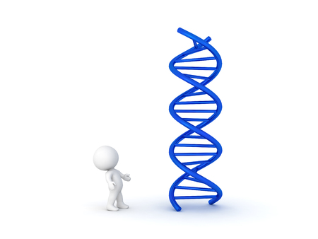 3D Character looking up at DNA double helix. Image relating to genetic medical research.