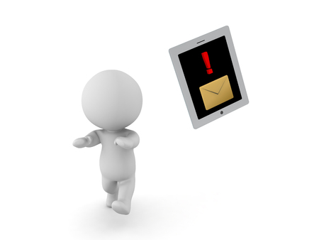 transmit: 3D Character running away from table phone device with message notification. Isolated on white. Stock Photo